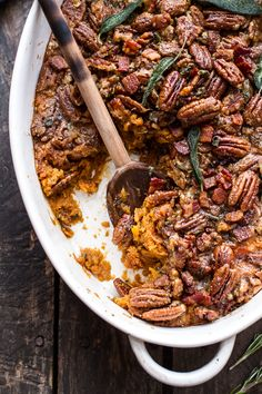 Bourbon Sweet Potato Casserole with Sweet 'n' Savory Bacon Pecans | halfbakedharvest.com @hbharvest