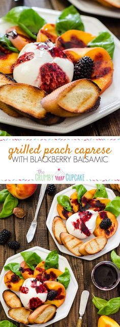 Transform a favorite Italian salad - Grilled Peach Caprese combines fresh peaches, burrata, basil, and blackberry balsamic into a perfect summer day appetizer! #SundaySupper