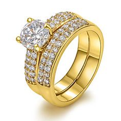 Classic 18K Wide Double Row of Zircon Copper Statement Rings... – EUR € 9.99