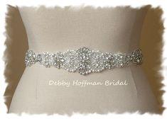 Rhinestone Crystal Pearl Bridal Sash, Wedding Dress Belt, Beaded Wedding Sash…