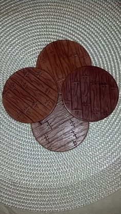 ON SALE Hand Carved Genuine Leather Coaster by KikisLeatherShop, $12.00