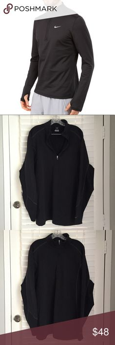 Men's Nike Fit therma black half zip pullover XL Men's NikeFit (Nike) therma half zip jacket / pullover. Long sleeve. Very warm , base layer type. Black. Hardly worn, good preowned condition. Nike swoosh on lower arm. ** not the exact product as in the stock photo Nike Jackets & Coats