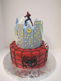 Spiderman cake for a little boys birthday.