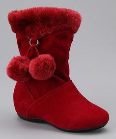 Red Bobbie Zip-Up Pom-Pom Boot -   PINKY FOOTWEAR