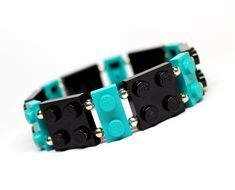 Geek Bracelet in Black and Teal - made from New LEGO (r) Pieces