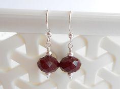 Sterling Silver Shepherd Hook Dark Red Earrings by ToriaTeeUK