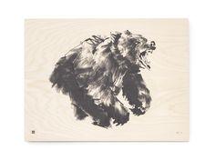 Brown Bear Fine Art Print on Wood Teemu Järvi Illustrations http://www.teemujarvi.com/en/shop/wood-prints/84-brown-bear.html Photo: Unto Rautio
