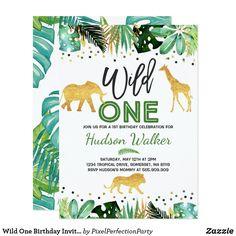 Wild One Birthday Invitation Jungle Animals Party. Tropical Wild One Birthday Party Invitation. Wild One Birthday Invitations, Wild One Birthday Party, Baby Boy Birthday, Animal Birthday, 1st Boy Birthday, Boy Birthday Parties, Invitation Birthday, Birthday Banners, Birthday Ideas