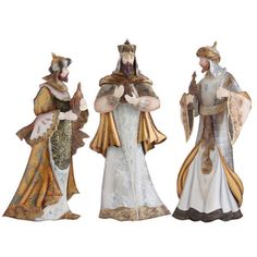 RAZ Imports - Cream and Gold Three Wisemen - Set of 3 - Beautiful - $110 for all pieces - PerfectlyFestive