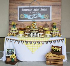 Rustic sunflower graduation party! See more party planning ideas at CatchMyParty.com!