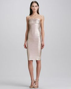 Strapless Bandage Dress, Rose Gold  by Herve Leger at Neiman Marcus.