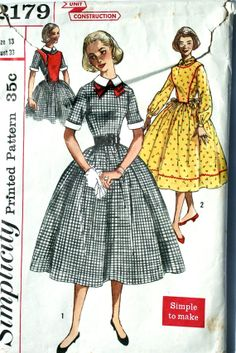 vintage 50's Simplicity 2179 dress, plastron and detachable collar, cuffs and bow, size 13 bust 33