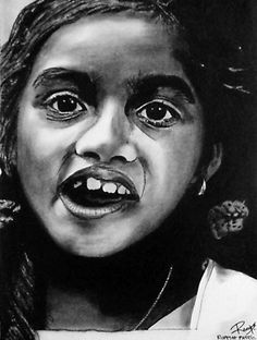 """Chetana"" ~ charcoal on paper ~ 30""x24"" ~ 2008 ~ www.rupeshpatric.com"