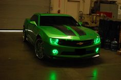 2010 Chevy Camaro Green LED Headlights and Fog Lights by FlyRyde