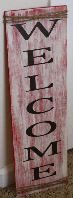 Welcome Rustic Sign with Twine Detail by signedwithlove on Etsy, $25.00