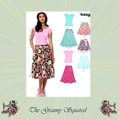 Skirts in 5 Styles and Knit Pullover Top by TheGrannySquared