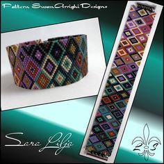Peyote Stitch Beading Bracelet Pattern Criss Cross Even Loom Bracelet Patterns, Peyote Stitch Patterns, Beaded Jewelry Patterns, Loom Patterns, Beading Patterns, Peyote Beading, Beaded Bracelets, Beadwork, Bracelet Patterns