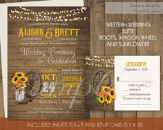 Rustic Fall Wedding Invitations Set Sunflowers Fall Leaves Country Western Wedding Wagon Wheel Mason Jar Cowboy Boots DIY Printable Digital by NotedOccasions