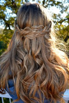 Braided Crown with Loose Beachy Curls