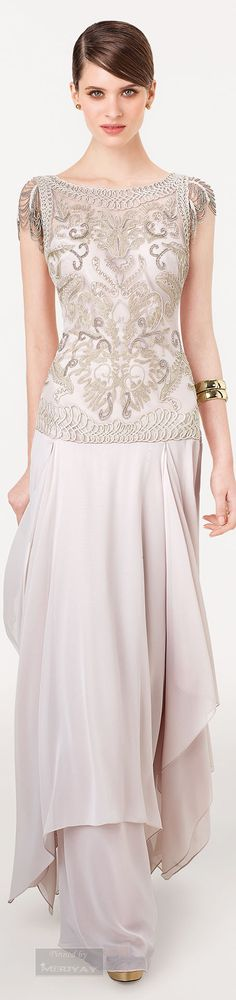 Aire Barcelona ~ Lace Bodice Evening Gown, Barely Beige, 2015 http://fashionfun.redmittenantiques.com/