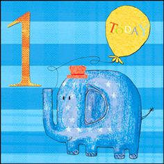 1st Birthday Card - Libby Bothway - Happy 1st Birthday Elephant This blue elephant Card Crazy card 'Happy 1st birthday' is from the range Lemon Squeezy by Libby Bothway.