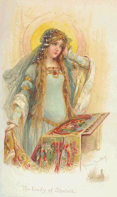Postcard: Art Nouveau print repro - Lady of Shalott aka Elaine of Astolat Vintage Labels, Vintage Ephemera, Vintage Cards, Vintage Images, Vintage Postcards, The Lady Of Shalott, Roi Arthur, Decoupage, Pre Raphaelite