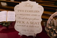 Two Families Become One Wedding Sign