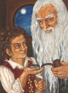 Bilbo and Gandalf by Inger Edelfeldt, original art Lotr Trilogy, Elf Man, Tolkien Books, The Hobbit Movies, Fantasy Comics, Gandalf, Middle Earth, Lord Of The Rings, Artist At Work