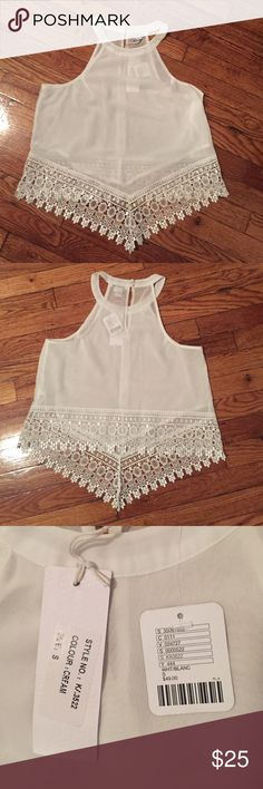 Urban Outfitters Scallop Top! Urban Outfitters Glamorous Scallop top in white! Two button closure on the back of the neck. Longer on the front and shorter in the back. Never been worn. Brand new with tags! ABSOLUTELY NO TRADES! Urban Outfitters Tops Blouses
