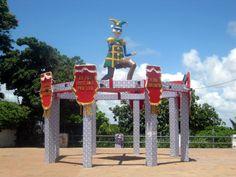 Estrutura montada no carnaval, em frente ao Museu dos Mamulengos.