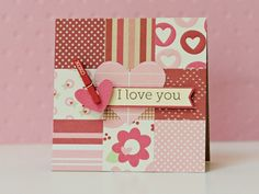 Found this on my go-to card site (Two Peas in a Bucket).  Love what a great way it is to use up all my paper scraps!  It's adorable for Valentine's Day, but you could change the theme for any occasion.  Don't be surprised if you receive a similar card from me someday....