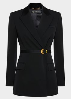 Barocco Buckle Wool Blazer from Versace Women's Collection. A blazer that glides seamlessly from day to evening, from the office to happy hour. This stretch wool, fitted waist blazer is embellished by a Barocco buckle belt - a Versace classic. Kpop Fashion Outfits, Blazer Fashion, Stage Outfits, Womens Fashion, Fashion Coat, Blazers For Women, Suits For Women, Clothes For Women, Blazer Jackets For Women