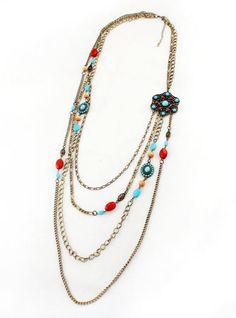 Red Blue Gemstone Retro Gold Multilayer Chain Necklace - Sheinside.com