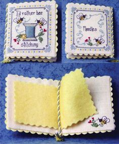 The Bee Cottage I'd Rather Bee Stitching Needlebook - Cross Stitch Pattern. Model stitched on 32 Ct. cream Belfast linen (need 2 pieces cut with DMC floss. Cross Stitching, Cross Stitch Embroidery, Embroidery Patterns, Cross Stitch Patterns, Biscornu Cross Stitch, Tatting Patterns, Needle Case, Needle Book, Sewing Crafts