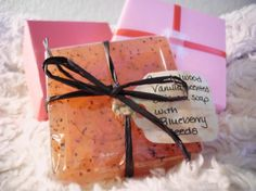 Sandalwood Vanilla Olive Oil Soap with Blueberry Seeds  Get yours today at www.blackwillowsoaps.etsy.com!
