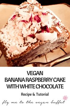 This recipe and video tutorial for my fluffy vegan banana raspberry cake with white chocolate and rose petals is really easy to make and so versatile! Best Vegan Cake Recipe, Best Vegan Desserts, Vegan Dessert Recipes, Vegan Sweets, Cake Recipes, White Chocolate Recipes, Vegan Party Food, Raspberry Cake, Vegan Comfort Food