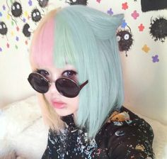 two tone hair, pink and baby blue, cat ear hair, big round sunglasses