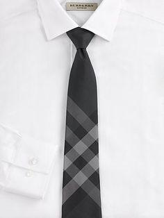 Mince Cravate En Coton Chèque Coupé - Bleu Burberry 91KFWlK
