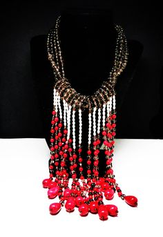 New Listings Daily - Follow Us for UpDates -  Retro Runway Bib Necklace - Amazing Statement #Jewelry - Red, White & Brown Beads - Studio Artist Design - Beaded Baroque Pearls - offered by #TheJewelSeeker on Etsy   Descri... #vintage #jewelry #teamlove #etsyretwt #ecochic #thejewelseeker