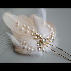 Beige Feather Fascinator with Natural Pearls and Navette Crystal Vine Bridal Pin Tiara, bridesmaids jewellery, bridal jewellery, wedding jewelry, wedding. Gold Wedding Jewelry, Bridal Jewelry Sets, Wedding Hair Accessories, Bridesmaid Jewelry, Bridal Jewellery, Gold Jewellery, Bride Earrings, Wedding Earrings, Fascinator