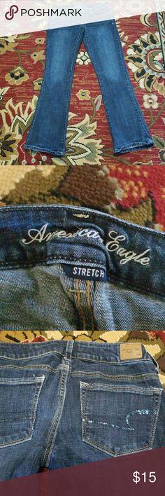 American eagle jeans Stretch skinny kick, sequins on back pockets. Jeans Skinny