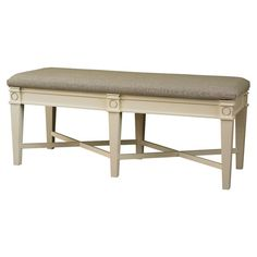 Showcasing a distressed hand-applied finish and crisscross stretchers, this upholstered bench makes a classic addition to your hallway or master suite.