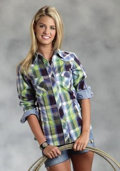 Roper® Women's Blue Carnival Plaid Long Sleeve Snap Western Shirt