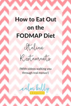 How to eat out on the fodmap diet: italian restaurants ibs health coaching and fodmap diet recipes Fodmap Recipes, Diet Recipes, Recipes Dinner, Diet Tips, Vegetarian Recipes, Ibs Fodmap, Fodmap Foods, What Is Ibs, Fructose Malabsorption