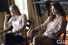 """The Vampire Diaries -- """"Day One of Twenty-Two Thousand, Give or Take"""" -- Image Number: VD701c_0356.jpg -- Pictured (L-R): Scarlett Byrne as Nora, Candice Accola as Caroline and Teressa Liane as Mary Louise -- Photo: Bob Mahoney/The CW -- © 2015 The CW Network, LLC. All rights reserved."""