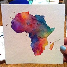"""A 6x6"""" watercolor painting of the outline of Africa."""
