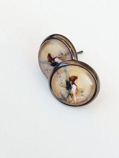 Stud Earrings Fairy Design 12mm Antique Bronze  by MagnoliaAlley, $7.50