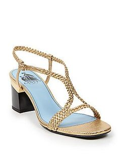 Lanvin Braided Metallic Leather Sandals - Gold - Size 39