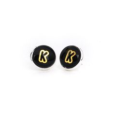 12mm Stud Earrings with your Initial [008] from mozzin by DaWanda.com