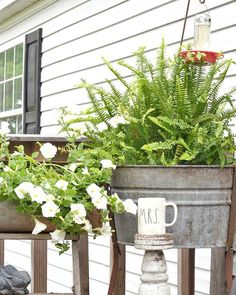 Bring on Monday! This is my favorite place to enjoy coffee in the mornings and who doesn't love green and galvanized?? I love planting in old washtubs or other galvanized containers. One of these is an old washtub and the other is an old round mailbox on a ladder. Hosts tagged in photo! Would @thetatteredpew  and @redheadhomestead wanna join in on any of these fun tags? #myfunkyjunkmonday #bloomingdecormondays  #mayflowersmonday #bhghome #bhggarden #springerupper #multigrammonday…